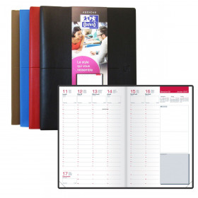 Agenda OXFORD Semainier First 21 x 27 cm - Grille business couverture marron