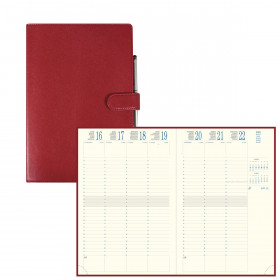 Agenda EXACOMPTA Eurotime 24 Rialto rouge - 240x160mm - 1 Semaine sur 2 pages